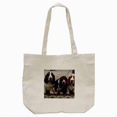 3 Basset Hound Puppies Tote Bag (Cream)