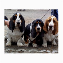 3 Basset Hound Puppies Small Glasses Cloth
