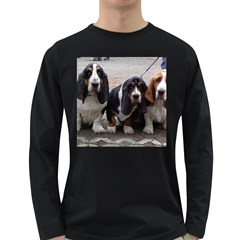 3 Basset Hound Puppies Long Sleeve Dark T-Shirts