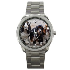 3 Basset Hound Puppies Sport Metal Watch