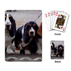 3 Basset Hound Puppies Playing Card