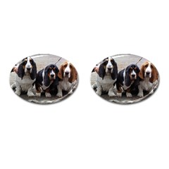 3 Basset Hound Puppies Cufflinks (Oval)
