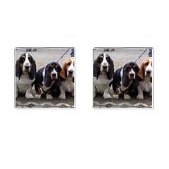 3 Basset Hound Puppies Cufflinks (Square)
