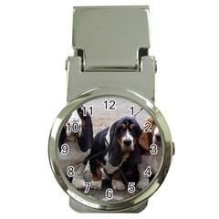 3 Basset Hound Puppies Money Clip Watches