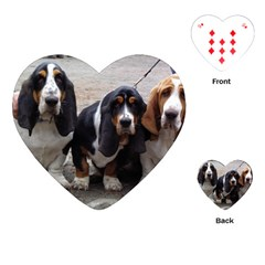 3 Basset Hound Puppies Playing Cards (Heart)