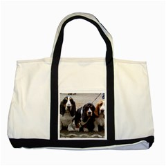 3 Basset Hound Puppies Two Tone Tote Bag