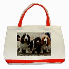 3 Basset Hound Puppies Classic Tote Bag (Red)