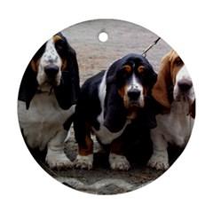 3 Basset Hound Puppies Round Ornament (Two Sides)