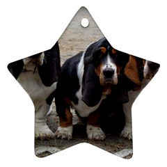 3 Basset Hound Puppies Star Ornament (Two Sides)