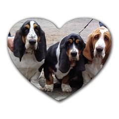 3 Basset Hound Puppies Heart Mousepads