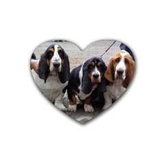 3 Basset Hound Puppies Heart Coaster (4 pack)