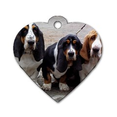 3 Basset Hound Puppies Dog Tag Heart (Two Sides)