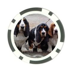 3 Basset Hound Puppies Poker Chip Card Guard