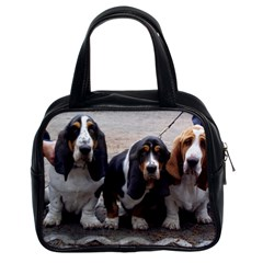 3 Basset Hound Puppies Classic Handbags (2 Sides)