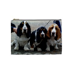3 Basset Hound Puppies Cosmetic Bag (Medium)