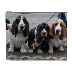 3 Basset Hound Puppies Cosmetic Bag (XL)