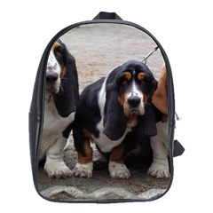 3 Basset Hound Puppies School Bags(Large)