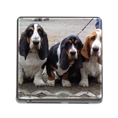 3 Basset Hound Puppies Memory Card Reader (Square)