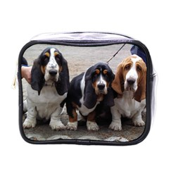 3 Basset Hound Puppies Mini Toiletries Bags
