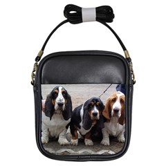 3 Basset Hound Puppies Girls Sling Bags