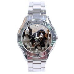 3 Basset Hound Puppies Stainless Steel Analogue Watch