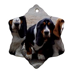 3 Basset Hound Puppies Snowflake Ornament (Two Sides)