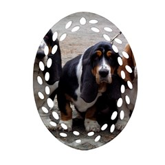 3 Basset Hound Puppies Oval Filigree Ornament (Two Sides)