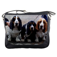 3 Basset Hound Puppies Messenger Bags