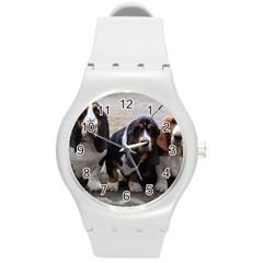 3 Basset Hound Puppies Round Plastic Sport Watch (M)