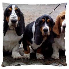 3 Basset Hound Puppies Large Cushion Case (Two Sides)