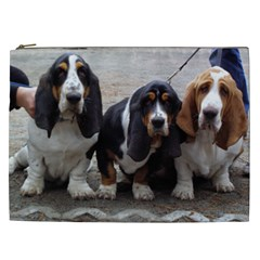 3 Basset Hound Puppies Cosmetic Bag (XXL)