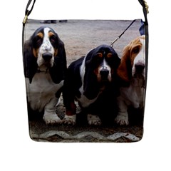 3 Basset Hound Puppies Flap Messenger Bag (L)