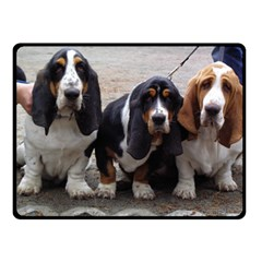 3 Basset Hound Puppies Double Sided Fleece Blanket (Small)