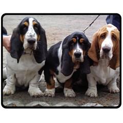3 Basset Hound Puppies Double Sided Fleece Blanket (Medium)