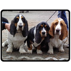 3 Basset Hound Puppies Double Sided Fleece Blanket (Large)