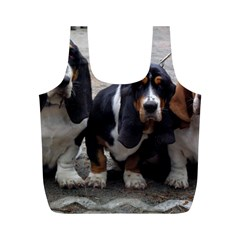 3 Basset Hound Puppies Full Print Recycle Bags (M)