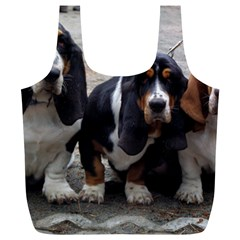 3 Basset Hound Puppies Full Print Recycle Bags (L)