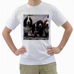 3 Basset Hound Puppies Men s T-Shirt (White)