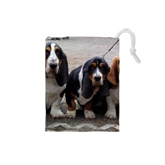 3 Basset Hound Puppies Drawstring Pouches (Small)