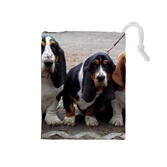 3 Basset Hound Puppies Drawstring Pouches (Medium)