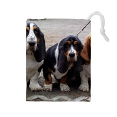 3 Basset Hound Puppies Drawstring Pouches (Large)