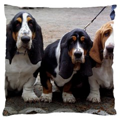 3 Basset Hound Puppies Large Flano Cushion Case (Two Sides)