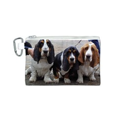 3 Basset Hound Puppies Canvas Cosmetic Bag (S)