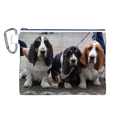 3 Basset Hound Puppies Canvas Cosmetic Bag (L)