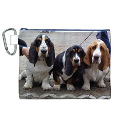 3 Basset Hound Puppies Canvas Cosmetic Bag (XL)
