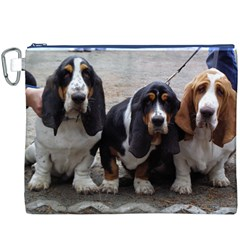3 Basset Hound Puppies Canvas Cosmetic Bag (XXXL)