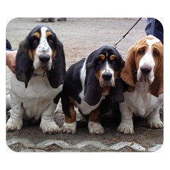 3 Basset Hound Puppies Double Sided Flano Blanket (Small)