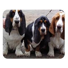 3 Basset Hound Puppies Double Sided Flano Blanket (Large)