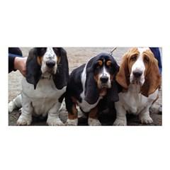 3 Basset Hound Puppies Satin Shawl