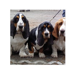 3 Basset Hound Puppies Small Satin Scarf (Square)